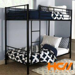 Giường sắt 2 tầng sơn đen giá rẻ