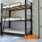 Giường sắt 3 tầng sơn đen tĩnh điện