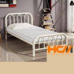 Giường sắt cách điệu sơn tĩnh điện trắng